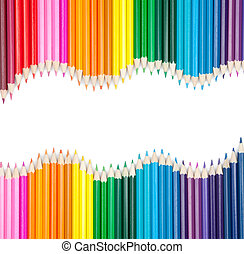color, lápices, conjunto, copyspace