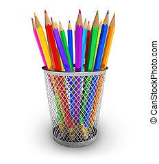 color, lápices, en, tenedor