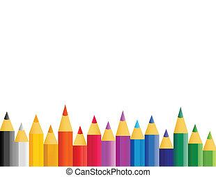 color, lápices, en, vector