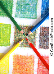 color, lápices, mezcla