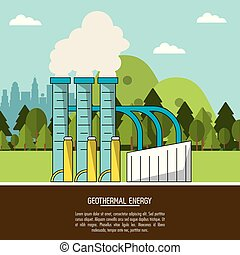 color landscape background geothermal energy production...