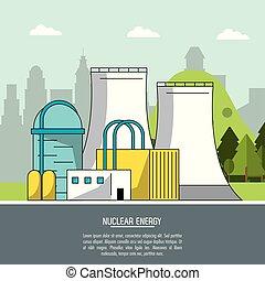 color landscape background nuclear energy production plant