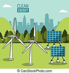 color landscape background wind power plant and solar energy panels