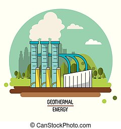 color landscape image geothermal energy production plant...