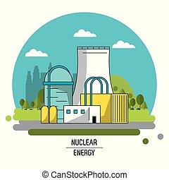 color landscape image nuclear energy production plant