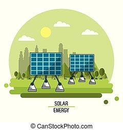 color landscape image solar energy panels