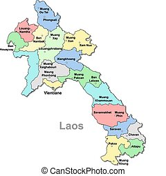 Color Laos map over white