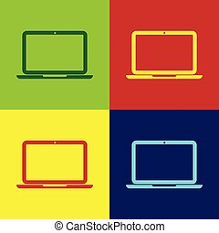 Color Laptop icon isolated on color backgrounds. Computer notebook with empty screen sign. Flat design. Vector Illustration