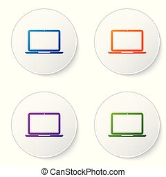 Color Laptop icon isolated on white background. Computer notebook with empty screen sign. Set color icon in circle buttons. Vector Illustration