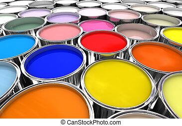 color, lata de la pintura, tinta