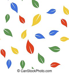 Color Leaf icon isolated seamless pattern on white background. Vector