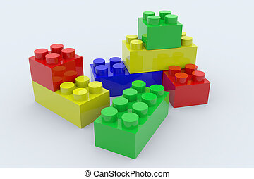 Color lego blocks toy isolated on white. 3D render image.