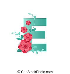 Color Letter E  with beautiful flowers
