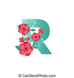 Color Letter R with beautiful flowers