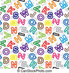 Color letters on white background seamless pattern