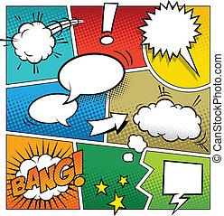 color, libro cómico, página, plantilla