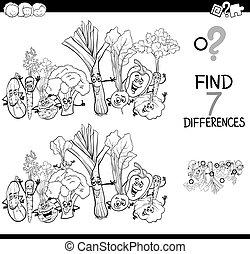 color, libro, vegetales, diferencias, juego