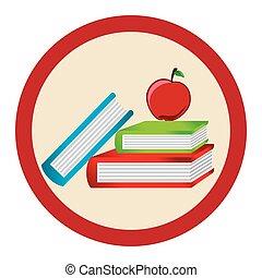color, libros de la escuela, silueta, manzana