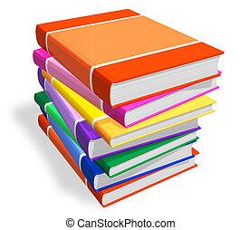color, libros, pila