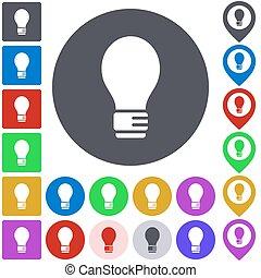 Color light bulb icon set