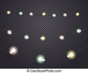 Color light garlands isolated on dark transparent background. Vector illustration