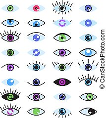 Color line eye isolated set collection. Vector flat graphic design illustration