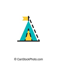 Color line icon for flat design. Camping