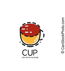 Color line icon for flat design. Cup