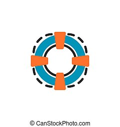 Color line icon for flat design. Lifebuoy