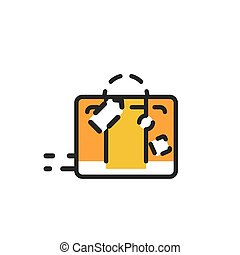 Color line icon for flat design. Luggage