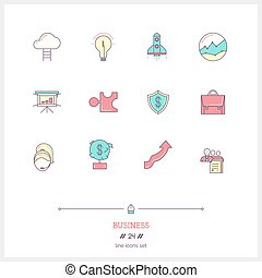 Color line icon set of business process, objects and tools elements. Business deal logo icons vector illustration