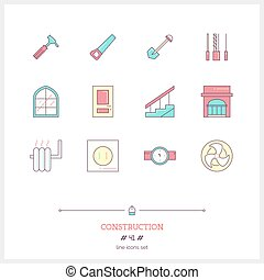 Color line icon set of Construction objects. Construction tools, interior design objects.