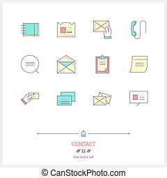 Color line icon set of contact form, information, objects and tools elements. Logo icons vector illustration.