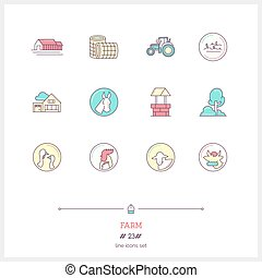 Color line icon set of farm objects and tools elements. Farm logo icons vector illustration.