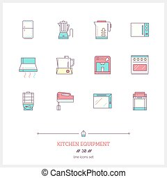 Color line icon set of kitchen equipments objects, tools and elements.