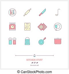 Color line icon set of kitchen stuff objects. Logo icons vector illustration