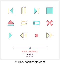 Color line icon set of modern minimalistic media player user interface, objects and tools elements.