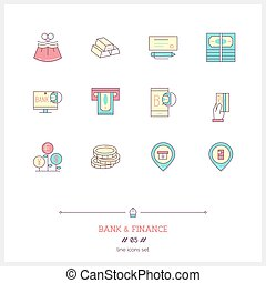 Color line icon set of money making, banking and financial objects and tools elements. Bank icons.