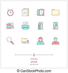 Color line icon set of office equipment, objects and tools elements. Time management logo icons vector illustration
