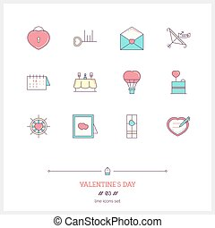 Color line icon set of valentine's day and marriage objects and tools elements.