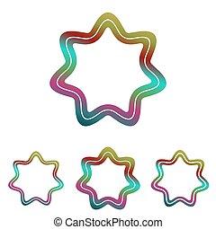 Color line star logo design set