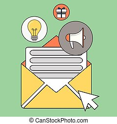 Color line vector illustration concept of regularly distributed news publication via e-mail with some topics of interest to its subscribers. Isolated on stylish color background.