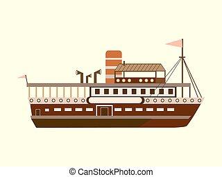 Color little retro steamer water retro transport