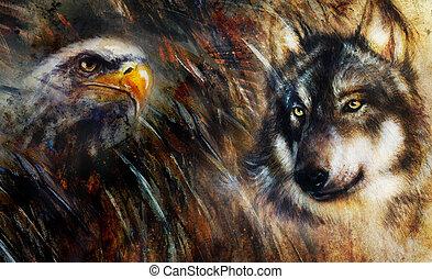 color, lobo, pintura, plumas, águila, multicolor, plano de ...