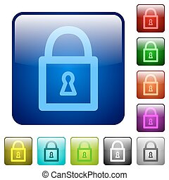 Color locked padlock square buttons