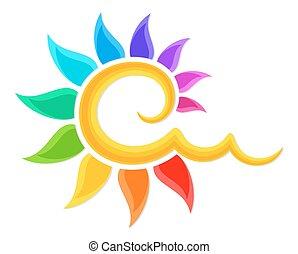 color, logotipo, sun.