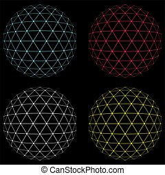 color lowpoly sphere - Abstract low poly triangulation...