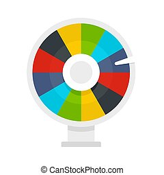 Color lucky wheel icon, flat style