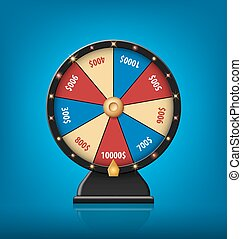 Color Lucky Wheel Template. Realistic Wheel of Fortune isolated on blue background. Vector illustration