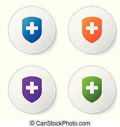 color, médico, protector, con, cruz, icono, aislado, blanco, fondo., salud, protección, concept., seguridad, insignia, icon., intimidad, banner., seguridad, label., conjunto, color, icono, en, círculo, buttons., vector, ilustración